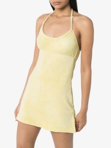 FRANKIES BIKINIS Gigi halterneck mini dress | yellow towelling beach dresses