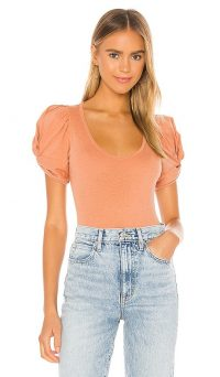 Free People Ava Bodysuit in Pink | puff sleeve bodysuits