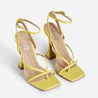 EGO Freestyle Square Toe Pyramid Heel In Yellow Faux Leather – ankle strap sandals