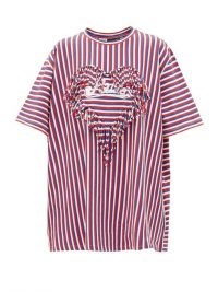 LOEWE PAULA'S IBIZA Fringe-trim striped boxy-fit T-shirt