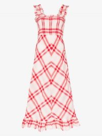GANNI Checked Seersucker Maxi Dress / red and white summer dresses