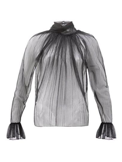 SAINT LAURENT Gathered silk-tulle blouse ~ sheer black blouses