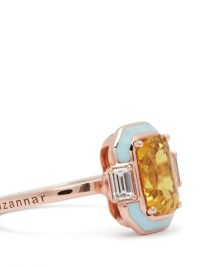 SELIM MOUZANNAR Gemma diamond, sapphire & 18kt rose-gold ring ~ yellow sapphires ~ Contemporary Art Deco rings