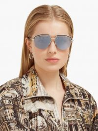 LOEWE Geometrical aviator metal sunglasses | grey tinted lenses | metal rim sunnies
