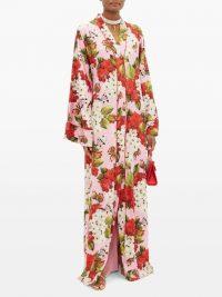 DOLCE & GABBANA Geranium-print silk-blend charmeuse kaftan ~ beautiful Italian kaftans