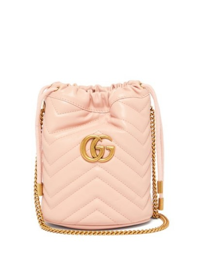 GUCCI GG Marmont pink-leather bucket bag / luxe drawstring bags