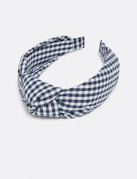 DRAPER JAMES Gingham Knot Headband in Nassau navy multi gingham | wide checked headbands