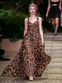DOLCE & GABBANA Giraffe-print silk-georgette dress / floaty event gowns