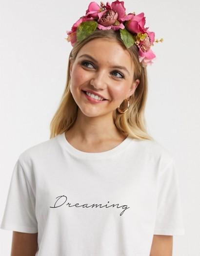 Glamorous headband with floral hair garland pink / feminine headbands / bridal accessory