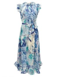 ZIMMERMANN Glassy ruffled Ikat-print cotton-blend midi dress ~ blue garden party dresses