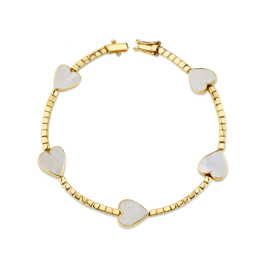 THE LAST LINE GOLD AND MOTHER OF PEARL HEART TENNIS BRACELET | hearts | luxe bracelets