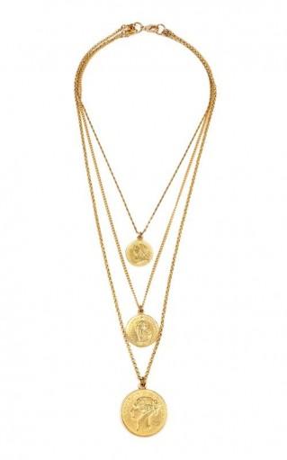 Ben-Amun Gold-Plated Coin Necklace / triple pendant necklaces
