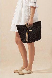 HEIDI KLEIN Grace Bay Large Raffia Bucket Bag in Black / summer tote bags