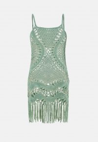 MISSGUIDED green crochet fringed mini dress – knitted dresses