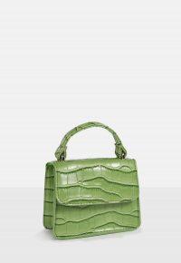 MISSGUIDED green faux leather croc mini bag – chic little handbag