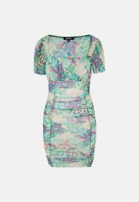 MISSGUIDED green floral print mesh ruched front mini dress