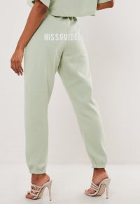 green missguided joggers – logo branded jogging bottoms