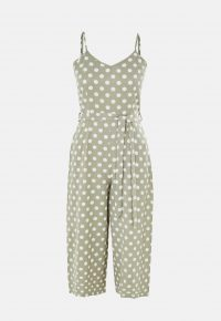MISSGUIDED green polka dot cami jumpsuit – strappy summer jumpsuits