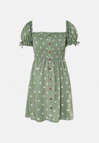 MISSGUIDED green polka dot shirred bust skater dress