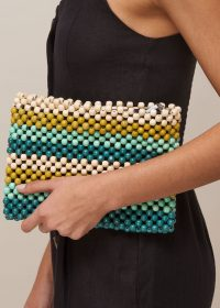 WHISTLES SAFAH STRIPED BEADED CLUTCH GREEN