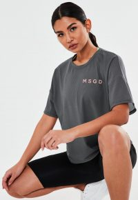 MISSGUIDED grey msgd airtex oversized gym t shirt / sport tee