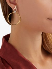 CHARLOTTE CHESNAIS Halo gold-plated & silver earrings / tri-colour hoops