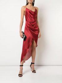 HANEY Holly asymmetric slip dress in red   draped cami dresses