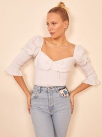 REFORMATION Haven Top White ~ smocked summer tops