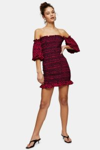 Topshop Heart Print Shirred Bardot Dress | frill trimmed off the shoulder dresses