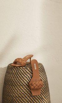 STRADIVARIUS Heeled sandals with padded braid detail beige – in the style of Bottega Veneta padded mules