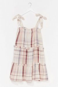 NASTY GAL Hey How You Doin' Check Mini Dress / tiered sundress
