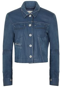 HIGH Covert blue leather and suede jacket ~ luxe trucker