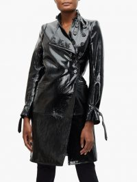 ANN DEMEULEMEESTER High-neck coated-leather trench coat ~ black high-shine coats