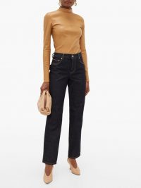 BOTTEGA VENETA High-rise slouchy-fit straight-leg jeans ~ indigo designer denim