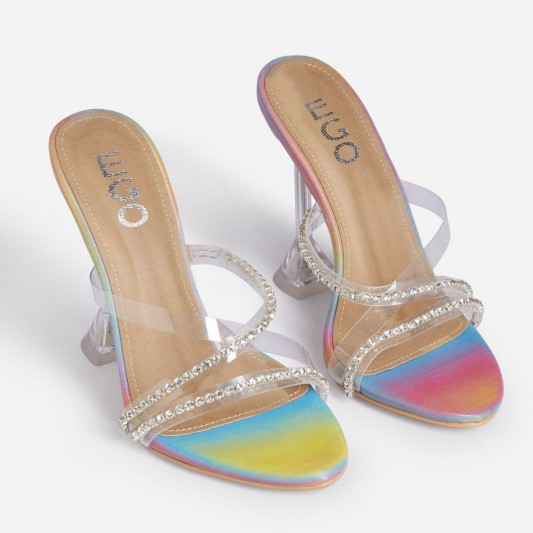 EGO Homegirl Diamante Detail Clear Perspex Heel Mule In Rainbow Print Faux Leather – embellished mules