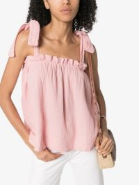 HONORINE Goldie ruched top | pink shoulder tie top