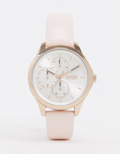 HUGO pink leather watch 1540047 | womens round face watches