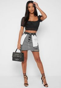 Manière De Voir INSIDE OUT DENIM MINI SKIRT BLACK