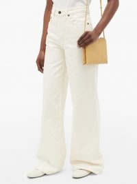 THE ROW Issa high-rise cotton wide-leg jeans in cream