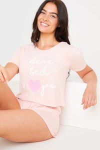 JAC JOSSA 'DEAR BED I LOVE YOU' PINK SHORTS NIGHTWEAR SET