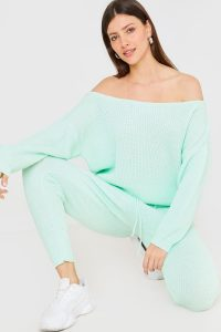 JAC JOSSA MINT KNITTED WIDE NECK LOUNGE CO ORD TOP