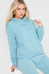 JAC JOSSA WASHED MINT 'NOTHING TO WEAR' SLOGAN HOODIE / green hoodies
