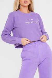 JAC JOSSA WASHED PURPLE 'DANCE LIKE NOBODY'S WATCHING' SLOGAN CROP SWEATSHIRT