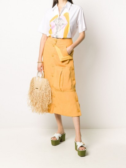 JACQUEMUS button-up midi skirt   orange pocket detail skirts
