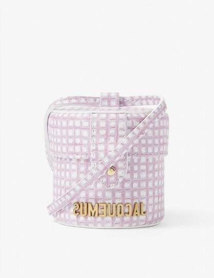 JACQUEMUS Le Vanity mini leather cross-body bag pink checked – cylindrical crossbody bags - flipped