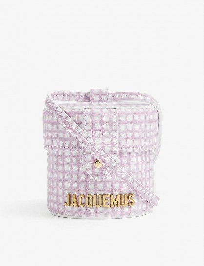 JACQUEMUS Le Vanity mini leather cross-body bag pink checked – cylindrical crossbody bags