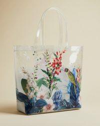 TED BAKER PEPICON Jamboree shopper / printed transparent shoppers / bird prints / tropical flowers