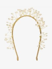 Jennifer Behr Gold Tone Primavera Pearl Headband / headbands for mermaids / mermaid hair accessory