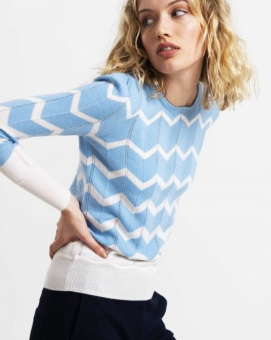 Catherine Duchess of Cambridge, zig zag jumper, Tabitha Webb JESSIE KNIT IN BLUE AND WHITE CHEVRON, 2 May 2020 | casual royal fashion | celebrity knitwear