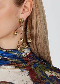 JIL SANDER Balance gold-tone drop earrings / statement drops